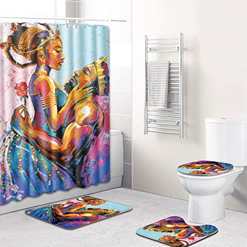 EVERMARKET Creative Colorful Printing Toilet Pad Cover Bath Mat Shower Curtain Set for Bathroom Decor,4 Pcs Set - 1 Shower Curtain & 3 Toilet Mat and Lid Cover (Kings African American Lovers Couple-1)