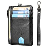 Slim Minimalist Front Pocket RFID Blocking Leather Wallets Credit Card Holder with Zipper