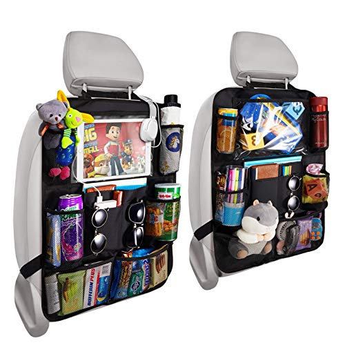 Reserwa Backseat Car Organizer Kick Mats back seat storage bag with Clear Screen Tablet Holder and 9 Storage Pockets,Seat Back Protectors with USB/Headphone Slits for Toys Drinks Book Kids Toddler Tra