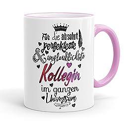 Funtasstic Tasse Für die absolut perfekteste Kollegin - Kaffeepott Kaffeebecher 375 ml, Farbe:rosa