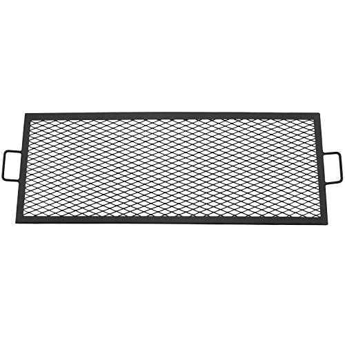 Sunnydaze Fire Pit Cooking Grill Grate - Outdoor Rectangle Black Steel BBQ