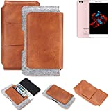 K-S-Trade® Schutz Hülle Für Bluboo Dual Gürteltasche Gürtel Tasche Schutzhülle Handy Smartphone Tasche Handyhülle PU + Filz, Braun (1x)