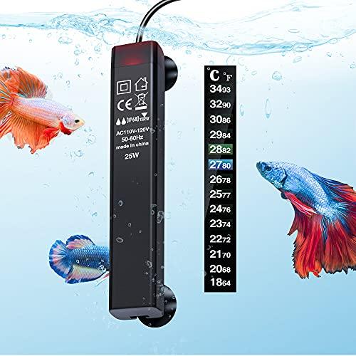 PGFUNNY 25W Aquarium Heater, Fish Tank Heater for Betta Smart Thermostat, Slim Design Fit 3 to 5...