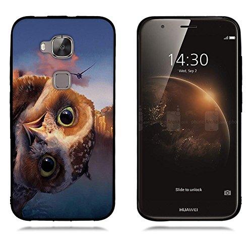 FUBAODA für Huawei Ascend G8 G7 Plus GX8 Hülle, [Eule] Black Border 3D zeitgenössischen Chic Fashion Creative Minimalist Cute Eule Design Hybrid Schock Absorbing für Huawei Ascend G8 G7 Plus GX8