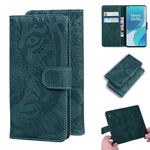 LMFULM® Hülle für OnePlus 9 Pro (6,7 Zoll) PU Leder Magnet Brieftasche Lederhülle Tiger Drucken Flip Cover Ledertasche Stent-Funktion Grün