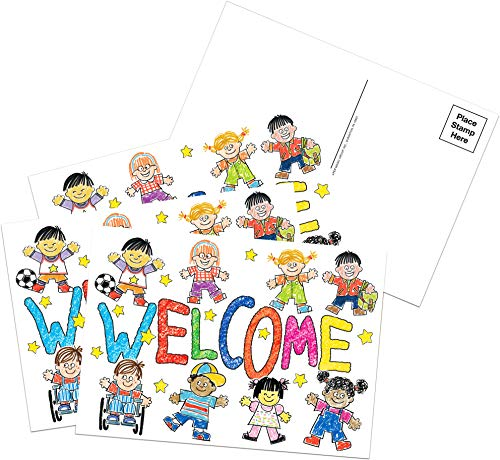 Eureka Colorful Teacher Welcome Cards Mailable Postcards for Teachers, 4'' W x 6'' L