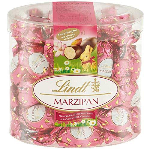 Lindt & Sprüngli Marzipan-Eier mit Amaretto im pinken Frühlingsdesign im Köcher, Doppeldreh, 425 g