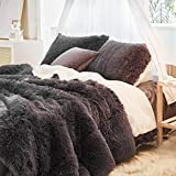 Uozzi Bedding Faux Fur Comforter Set Queen 3 Pieces - 1 Comforter Set and 2 Pillowcases, Ultra Soft and Easy Care Luxury Plush Shaggy Duvet Set (Dark Gray)