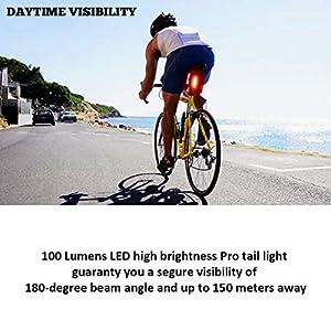 DONPEREGRINO B4-100 Lúmenes LED Luz Trasera Bici Roja Diurna y Nocturna de Alta Visibilidad, Luz Trasera Bicicleta Potente y Recargable USB con Modos Fijos e Intermitentes