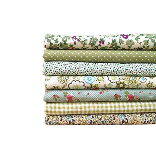 beIilan 7pcs Serie Verde/Set Panno di Cotone del Fiore del Tessuto Bundles Stampata Fiore del Tessuto di Cotone Tessuto Patchwork Cucito 50x50cm