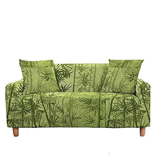 Meiju Fundas de Sofá Elasticas Ajustables de 1 2 3 4 Plazas Impresión Bambú Universal Antideslizante Cubierta de Sofá Funda Cubre Sofas Furniture Protector (Bosque,3 plazas - 190-230cm)