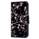 LEMAXELERS Coque Huawei Honor 9X,Portefeuille Etui Housse pour Huawei Honor 9X Coque Paillette Anime Paillon Unicorn Fleur PU Cuir Flip Wallet Étui Couverture pour Huawei Honor 9X,HX Pink Flower