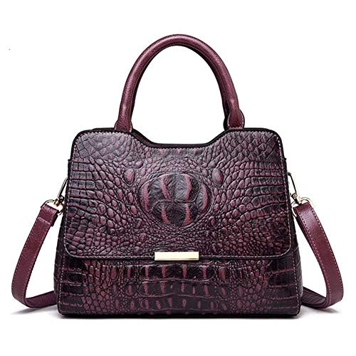 Ys-s Personalización de la Tienda Vintage Moda Cocodrilo Cuero Literal Luxury Ladies Bolsos Bolsos Mujeres Diseñador Mujer Bolsa de Hombro Dillaf (Color : Violet, Size : XL)