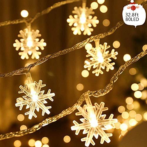 Weihnachten Schneeflocke Lichterketten 32.8ft 80LED Lichterketten Batterie betrieben wasserdicht für Weihnachten Garten Terrasse Schlafzimmer Party Decor Indoor Outdoor Feier Beleuchtung, warmweiß