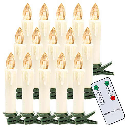 Hengda 30Stk Warmweiß LED Weihnachtskerzen Kabellos, Christbaumkerzen mit Fernbedienung Timer, Dimmbar LED Kerzen für Weihnachtsbaum, Weihnachtsdeko, Weihnachtsbaumkerzen
