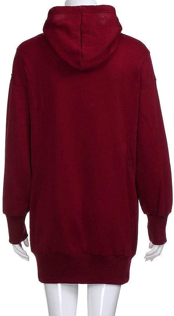 Liusdh Damen-Sweatshirt, langer Kapuzenpullover, Vordertasche, lange Ärmel, Aufwärm-Mantel Wein4