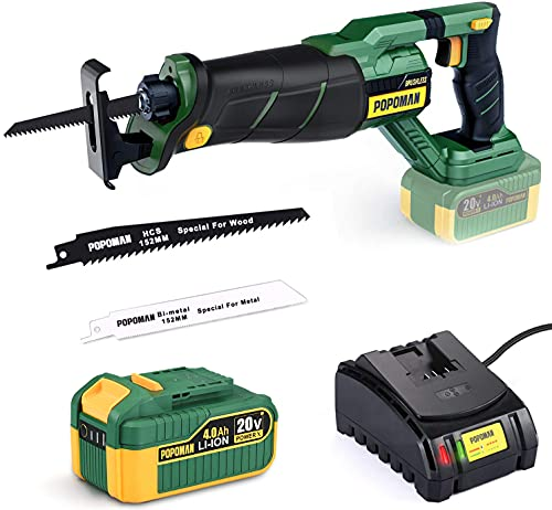 POPOMAN 20V Brushless Cordless Reciprocating Saw with 4.0Ah Lithium-Ion Battery, 1-1/8'(28mm) Stroke Length, 0-2500 SPM Variable Speed, 2 Blades for Metal & Wood Cutting, Tree Trimming- MTW200B