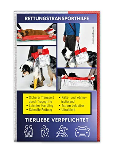 Knauder´s Best Hunde-Rettungsdecke Erste-Hilfe Tragehilfe Gehhilfe +Gratis Pfotenaufkleber