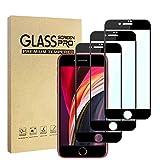 Hianjoo 3 Piezas Protector Pantalla Compatible con iPhone SE 2020, Cristal Templado Premium Protección Compatible con iPhone 8/7 [Sin Burbujas] [Anti-Arañazos] [Dureza 9H] [Anti-Huella] [Negro]