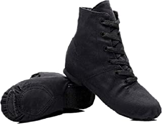 NLeahershoe Lace-up Canvas Dance Shoes Flat Jazz Boots for Practice, Suitable for Both Men and Women (8W/7M/41, Black)
