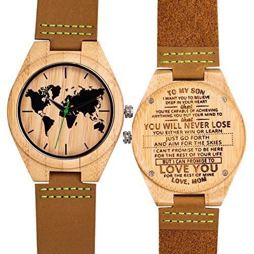 UWOOD Orologio da polso da uomo in vera pelle, stile vintage, da uomo e da donna, in legno, con cinturino in pelle (Bamboo Mom-Son Never lose)