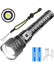 LED Zaklamp XHP90 Super Helder 10000 Lumen, 5 Modi USB Oplaadbaar Krachtig Zaklampen Zoombaar Waterdicht met Voedingsindicator voor Outdoor Activiteiten, Inclusief Batterijen