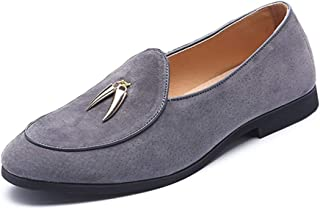 ZHANGLEI Smoking Loafers for Men Metal Tassel Oxfords Slip on Suede Rubber Sole Pointed Toe Flat Heel Solid Color Stitching Non-Slip Thin (Color : Grey, Size : 6.5 UK)