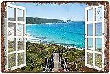 graman Malibu Bay Beach House View Window Beach - Cartel de metal para decoración de pared, estilo retro, para decoración de pared, 20 x 30 cm