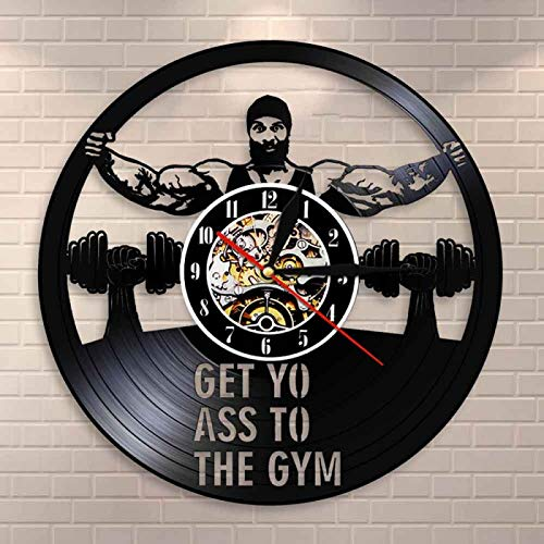 LIMN Workout Dumbbell Fitness Vintage Watch Morden Design Gifts Get Yo Ass To The Gym Vintage Vinyl Record Wall Clock|Wall Clocks