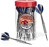 Bullseye Steel Tip Darts (24 Pack) with Flights in Handy Carry and Store
