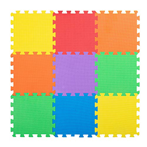 Non-Toxic Extra Thick 9 Piece Children Play Mat - Comfortable Cushiony Foam Floor Puzzle Mat, 6 Vibrant Colors for Kids & Toddlers