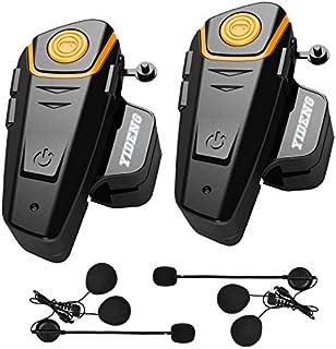 Yideng Bluetooth Headset Intercom Motorcycle Helmet interphone BT-S2 1000m Walkie-Talkie Headphone Waterproof Wireless Communication System Up to 3 Riders(2 Pack)