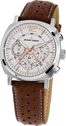 Jacques Lemans Reloj Cronógrafo para Unisex de Cuarzo con Correa en Cuero 1-1931B