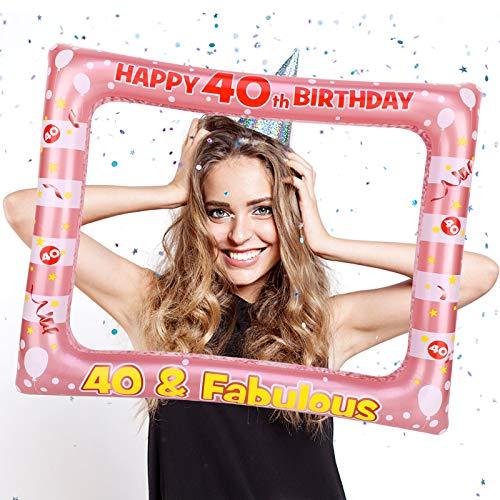 HOWAF 40 Anni Compleanno Photo Booth Prop Cornice Gonfiabile Cornice per Selfie 40 Anni Compleanno Cornice Foto Props Accessori per Decorazione 40 Compleanno Donna Ideale Come Regalo