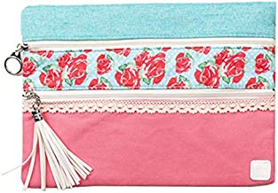Peachy Keen Country Rose Garden Lay Flat Versi Bag for Makeup and General Use