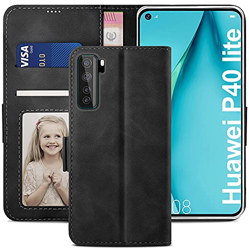 YATWIN Handyhülle Huawei P40 Lite 5G Hülle, Klapphülle Huawei P40 Lite 5G Premium Leder Brieftasche Schutzhülle [Kartenfach][Magnet][Stand] Handytasche für Huawei P40 Lite 5G Hülle, Schwarz