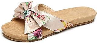 B/H Pantoufles à Enfiler antidérapantes,Chaussures de Plage d'été à Bout Ouvert, Sandales à nœud Plat-Abricot_39,Antidérap...