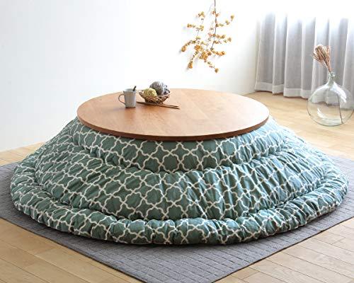こたつ布団モロッカン柄(日本製)直径225㎝円形ミストグリーン大判掛け布団丸型北欧