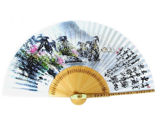 Antique Alive Peinte à la Main Pliante Peinture de voiliers en East Port Coréen Mûre Riz Blanc Papier en Bambou Art Handheld Éventail Décoratif