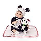 MaMaDolls 40 cm 18 pulgadas Slicone Reborn Baby Doll Chino Panda Doll Kids Playhouse Toy realista vinilo recién nacido niña muñeca