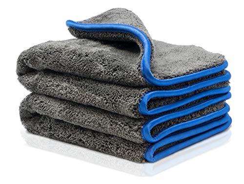Saugstarkes Trocknungstuch Auto Poliertuch Car Towels mit 1200gsm Microfasertuch Autopflege Mikrofasertuch Lackpflege Auto Trockentuch 40x40cm Abledertuch 2Stk.