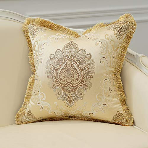 Avigers Luxury Decorative European Throw Pillow Cover 18 x 18 Inch Soft Floral Embroidered Cushion Case with Tassels for Couch Bedroom Car 45 x 45 cm, Beige Gold