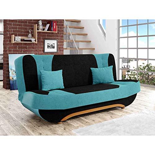 Canapé droit Bleu Tissu Pas cher