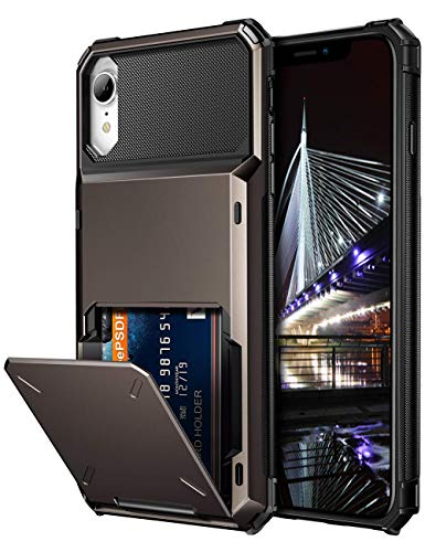 Vofolen Case for iPhone XR Case Wallet ID Slot Credit Card Holder Spring Pocket Scratch Resistant Dual Layer Protective Bumper Rugged TPU Rubber Armor Hard Shell Cover for iPhone XR 10R (Gun Color)