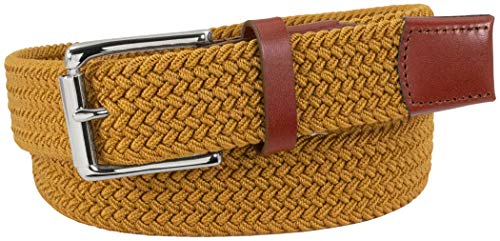 Florsheim Men's Koufax Elastic Woven Casual 35mm Belt, Saffron with Leather Accents, 34