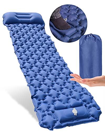 Selbstaufblasende Camping-Matte, tragbare ultraleichte Schlafmatratze, aufblasbare verbindbare wasserdichte Isomatte mit Kissen, Campingmatte für Outdoor, Camping, Rucksackreisen, Wandern