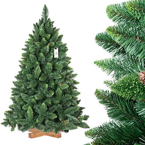 FairyTrees Arbre Sapin Artificiel de Noêl Pin, Naturel Vert, Matière PVC, Pommes de Pin Vraies, Socle en Bois, 150cm, FT03-150