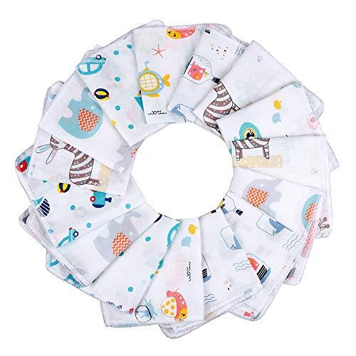 Lictin Baby Musselin Waschlappen 15 Stück Baby Gesichtstüche Neugeborene Babywaschlappen Baby Wipes Lätzchen, 25cm*25cm