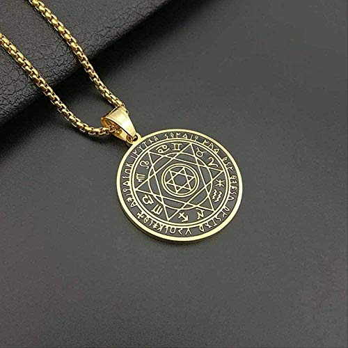 Yiffshunl Collar Mujer Collar 12 Constelación Alfabeto Seis pentagramas TS Collar para Hombres con Estrella de David Collares de Oro Joyería Masculina Punk