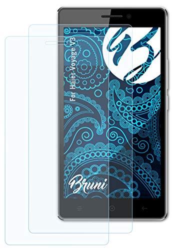Bruni Schutzfolie kompatibel mit Haier Voyage V3 Folie, glasklare Bildschirmschutzfolie (2X)